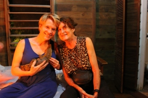 L-R Clara Lee Arnold, director of HBHS and Sharon Matola, founder of The Belize Zoo posing for a picture before we all crashed for the night. We all took turns holding this baby croc that Sharon is nursing back to health.